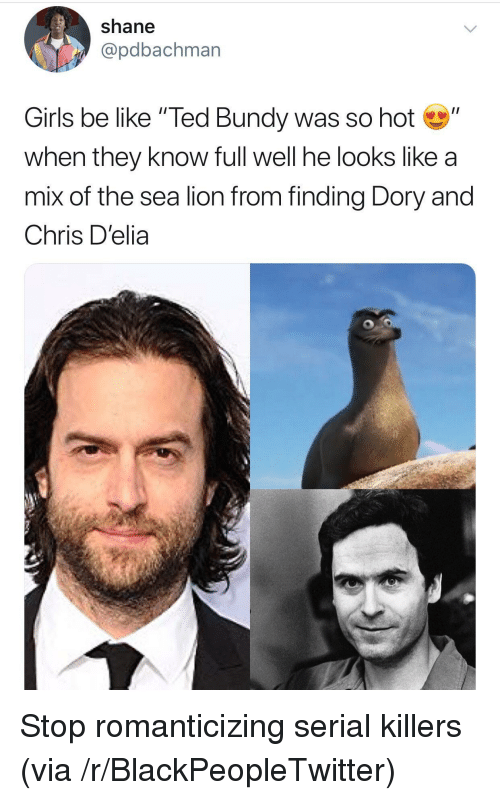 "Be Like, Blackpeopletwitter, and Girls: shane  @pdbachman  Girls be like ""Ted Bundy was so hot""  when they know full well he looks like a  mix of the sea lion from finding Dory and  Chris D'elia Stop romanticizing serial killers (via /r/BlackPeopleTwitter)"