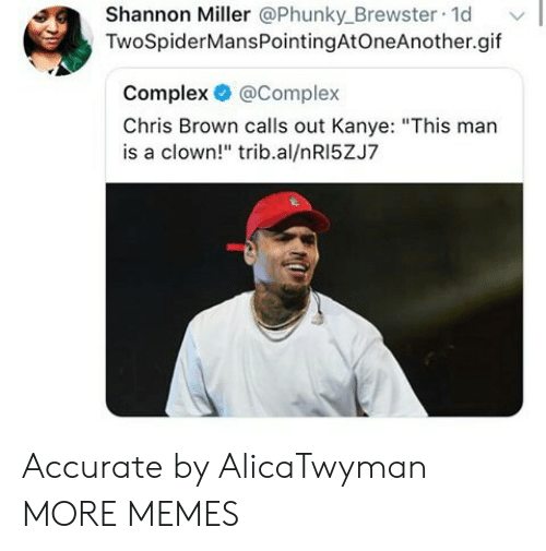 """Chris Brown, Complex, and Dank: Shannon Miller @Phunky_Brewster 1d  TwoSpiderMansPointingAtOneAnother.gif  Complex @Complex  Chris Brown calls out Kanye: """"This man  is a clown!"""" trib.al/nRI5ZJ7 Accurate by AlicaTwyman MORE MEMES"""