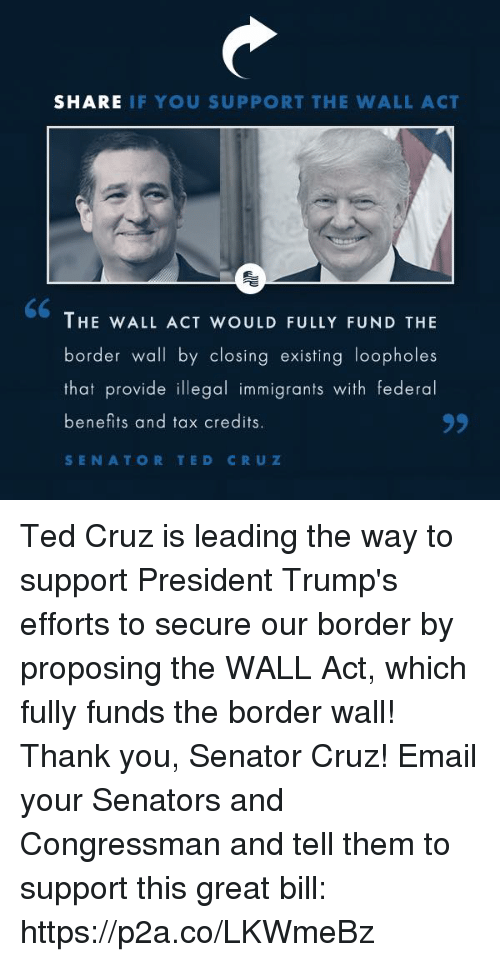 Ted, Ted Cruz, and Thank You: SHARE IF YOU SUPPORT THE WALL ACT  THE WALL ACT WOULD FULLY FUND THE  border wall by closing existing loopholes  that provide illegal immigrants with federal  benefits and tax credits  SENATOR TED CRUZ Ted Cruz is leading the way to support President Trump's efforts to secure our border by proposing the WALL Act, which fully funds the border wall! Thank you, Senator Cruz!  Email your Senators and Congressman and tell them to support this great bill: https://p2a.co/LKWmeBz