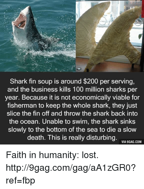 Shark Fin Soup: Shark fin soup is around $200 per serving,  and the business kills 100 million sharks per  year. Because it is not economically viable for  fisherman to keep the whole shark, they just  slice the fin off and throw the shark back into  the ocean. Unable to swim, the shark sinks  slowly to the bottom of the sea to die a slow  death. This is really disturbing.  VIA 9GAG.COM Faith in humanity: lost. http://9gag.com/gag/aA1zGR0?ref=fbp