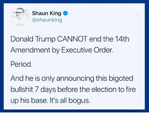 Donald Trump, Fire, and Period: Shaun King  @shaunking  Donald Trump CANNOT end the 14th  Amendment by Executive Order.  Period.  And he is only announcing this bigoted  bullshit 7 days before the election to fire  up his base. It's all bogus.
