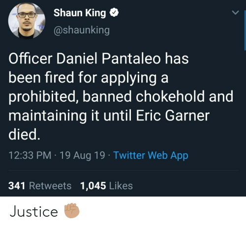 Twitter, Shaun King, and Justice: Shaun King  @shaunking  Officer Daniel Pantaleo has  been fired for applying a  prohibited, banned chokehold and  maintaining it until Eric Garner  died.  12:33 PM 19 Aug 19 Twitter Web App  341 Retweets 1,045 Likes Justice ✊🏽