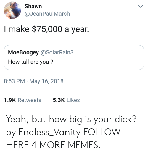 Dank, Memes, and Target: Shawn  @JeanPaulMarsh  Imake $75,000 a year.  MoeBoogey @SolarRain3  How tall are you?  8:53 PM May 16, 2018  1.9K Retweets  5.3K Likes Yeah, but how big is your dick? by Endless_Vanity FOLLOW HERE 4 MORE MEMES.