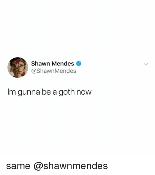 Relatable, Goth, and Now: Shawn Mendes  @ShawnMendes  Im gunna be a goth now same @shawnmendes