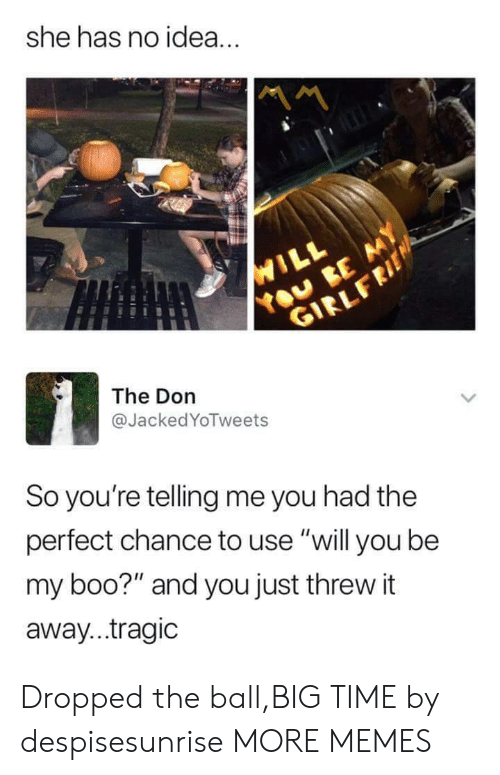 "Boo, Dank, and Memes: she has no idea.  The Don  @JackedYoTweets  So you're telling me you had the  perfect chance to use ""will you be  my boo?"" and you just threw it  away...tragic Dropped the ball,BIG TIME by despisesunrise MORE MEMES"