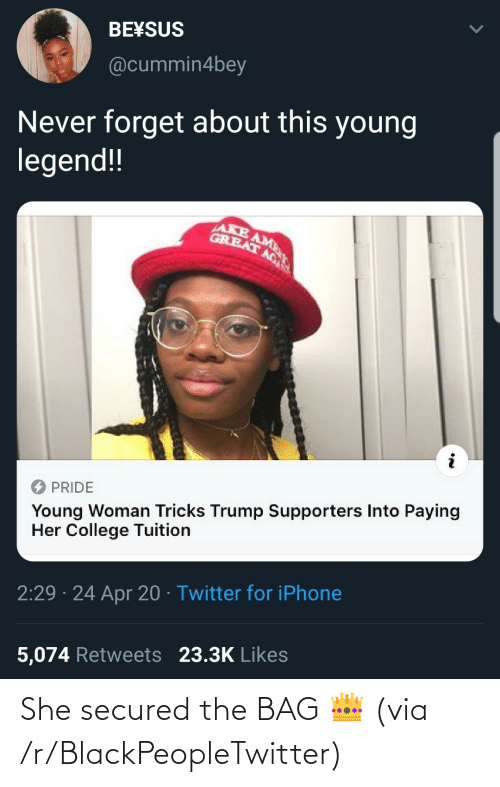 R Blackpeopletwitter: She secured the BAG 👑 (via /r/BlackPeopleTwitter)