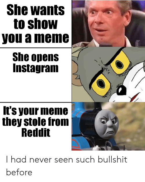 she wants: She wants  to show  you a meme  She opens  Instagram  It's your meme  they stole from  Reddit I had never seen such bullshit before
