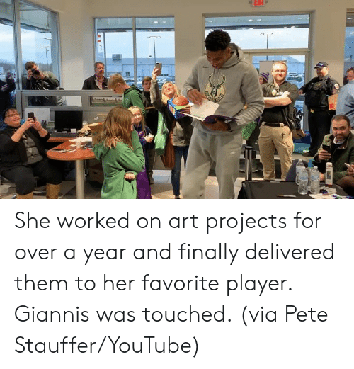 youtube.com, Art, and Her: She worked on art projects for over a year and finally delivered them to her favorite player.  Giannis was touched.  (via Pete Stauffer/YouTube)
