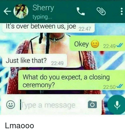 Memes, 🤖, and Sherry: Sherry  typing  It's over between us, joe  22:47  Okey  224g  Just like that?  22:49  What do you expect, a closing  ceremony?  22:50  ype a message Lmaooo