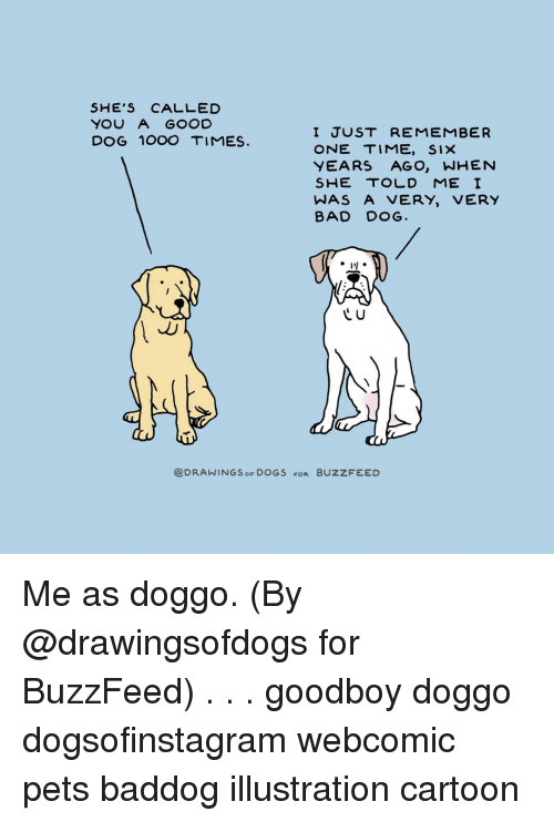 Goodboy: SHE'S CALLED  YOU A GOOD  DOG 1OOO TIMES  I JUST REMEMBER  ONE TIME, SIX  YEARS AGO, WHENN  SHE TOLD ME I  WAS A VERY, VERY  BAD DOG.  C U  @DRAWINGS OF DOGS FOR BUZZFEED Me as doggo. (By @drawingsofdogs for BuzzFeed) . . . goodboy doggo dogsofinstagram webcomic pets baddog illustration cartoon