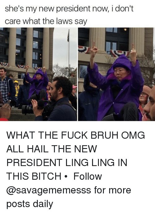 Memes, 🤖, and Hail: she's my new president now, i don't  care what the laws say WHAT THE FUCK BRUH OMG ALL HAIL THE NEW PRESIDENT LING LING IN THIS BITCH • ➫➫ Follow @savagememesss for more posts daily