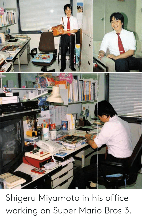 Super Mario, Super Mario Bros, and Mario: Shigeru Miyamoto in his office working on Super Mario Bros 3.