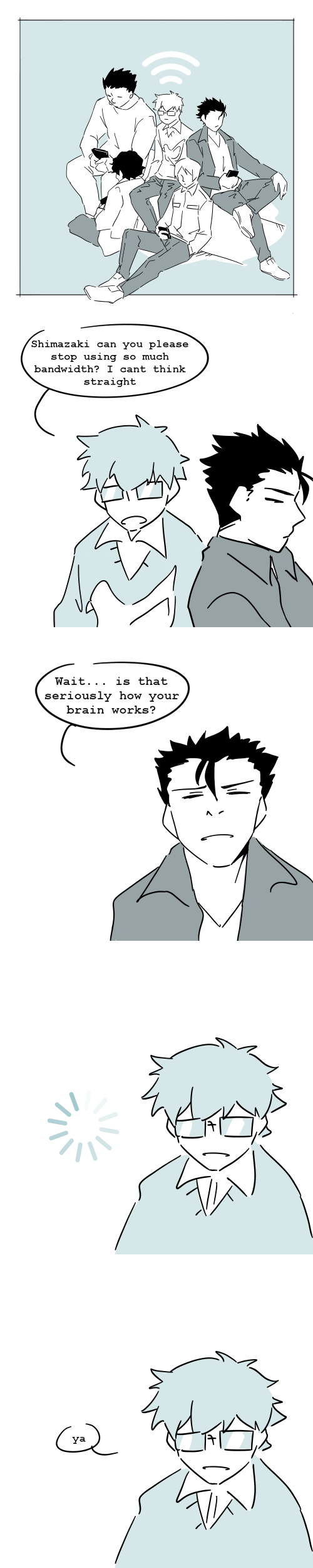 Brain, How, and Can: Shimazaki can you please  stop using  so much  bandwidth? I cant think  straight   Wait... is that  seriously how your  brain works?   IZ   ya  IZ
