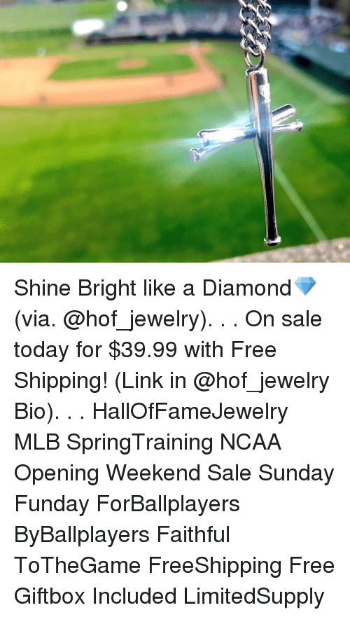 shine bright: Shine Bright like a Diamond💎 (via. @hof_jewelry). . . On sale today for $39.99 with Free Shipping! (Link in @hof_jewelry Bio). . . HallOfFameJewelry MLB SpringTraining NCAA Opening Weekend Sale Sunday Funday ForBallplayers ByBallplayers Faithful ToTheGame FreeShipping Free Giftbox Included LimitedSupply