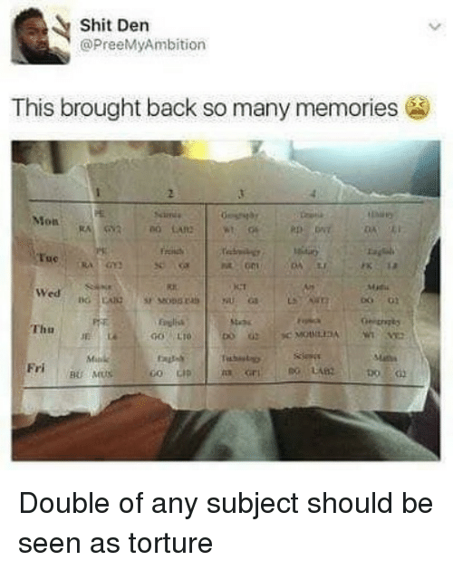 Memes, Shit, and Back: Shit Den  @PreeMyAmbition  This brought back so many memories  Mon  ue  se ca  ICT  Miu  Wed  Erulisa  Thu Double of any subject should be seen as torture