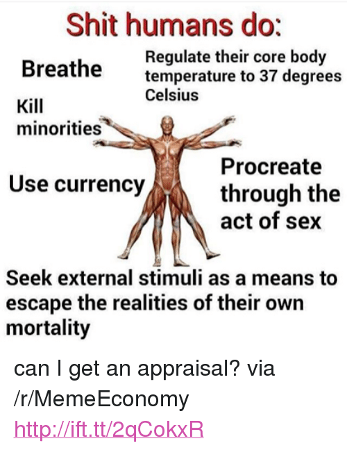 """Sex, Shit, and Http: Shit humans do:  Regulate their core body  temperature to 37 degrees  Celsius  Breathe  Kill  minorities  Procreate  through the  act of sex  Use currency  Seek external stimuli as a means to  escape the realities of their own  mortality <p>can I get an appraisal? via /r/MemeEconomy <a href=""""http://ift.tt/2qCokxR"""">http://ift.tt/2qCokxR</a></p>"""