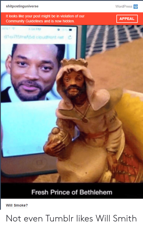 Community, Fresh, and Prince: shitpostinguniverse  WordPress  It looks like your post might be in violation of our  Community Guidelines and is now hidden.  APPEAL  Fresh Prince of Bethlehem  Will Smoke? Not even Tumblr likes Will Smith