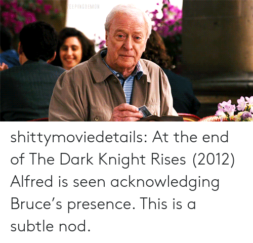 nod: shittymoviedetails:  At the end of The Dark Knight Rises (2012) Alfred is seen acknowledging Bruce's presence. This is a subtle nod.