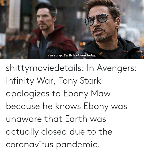 Closed: shittymoviedetails:  In Avengers: Infinity War, Tony Stark apologizes to Ebony Maw because he knows Ebony was unaware that Earth was actually closed due to the coronavirus pandemic.