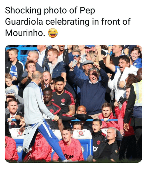 pep guardiola: Shocking photo of Pep  Guardiola celebrating in front of  Mourinho. es