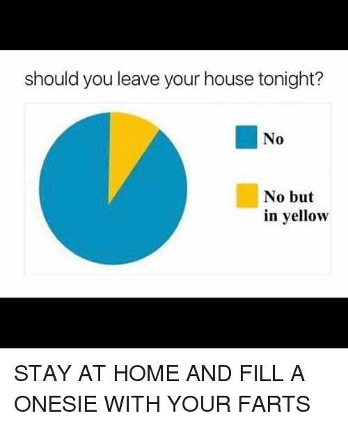 homed: should you leave your house tonight?  No  No but  in yellow STAY AT HOME AND FILL A ONESIE WITH YOUR FARTS