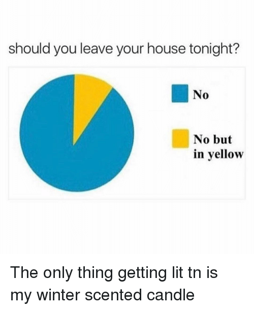 Lit, Winter, and House: should you leave your house tonight?  No  No but  in yellow The only thing getting lit tn is my winter scented candle