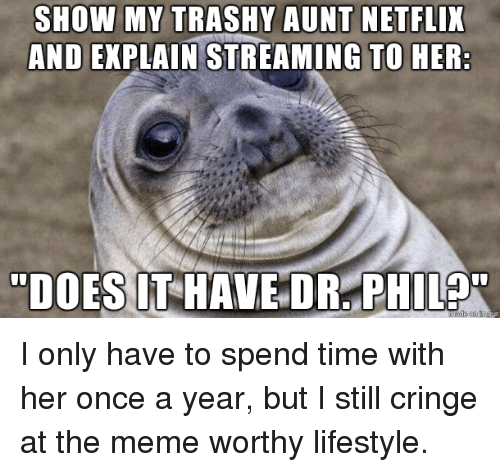 Meme, Netflix, and Lifestyle: SHOW MY TRASHY AUNT NETFLIX  AND EXPLAIN STREAMING TO HER I only have to spend time with her once a year, but I still cringe at the meme worthy lifestyle.