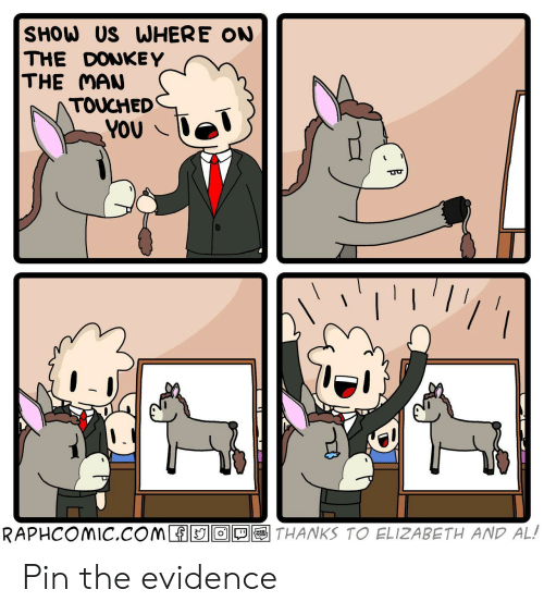 Donkey, Com, and Pin: SHOW US WHERE ON  THE DONKEY  THE MAN  TOUCHED  YOU  THANKS TO ELIZABETH AND AL!  RAPHCOMIC.COM O  WEB  TOON Pin the evidence