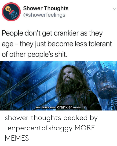 thoughts: shower thoughts peaked by tenpercentofshaggy MORE MEMES