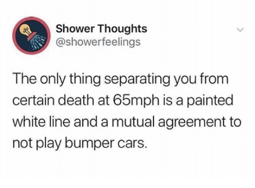 painted: Shower Thoughts  @showerfeelings  The only thing separating you from  certain death at 65mph is a painted  white line and a mutual agreement to  not play bumper cars.