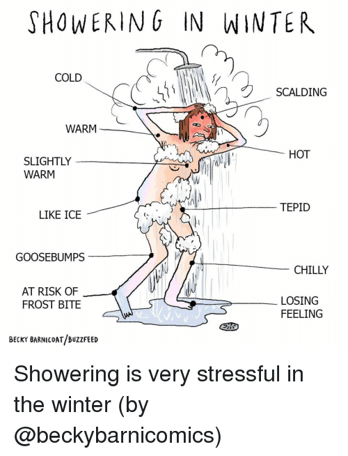 Memes, Winter, and Buzzfeed: SHOWERING IN WINTER  COLD  SCALDING  WARM  HOT  SLIGHTLY  WARM  TEPID  LIKE ICE  GOOSEBUMPS  CHILLY  AT RISK OF  FROST BITE  LOSING  FEELING  BECKY BARNICOAT BUZZFEED Showering is very stressful in the winter (by @beckybarnicomics)