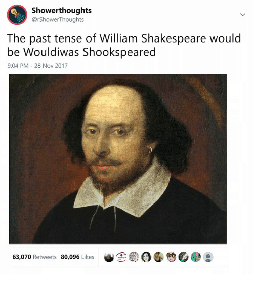 past tense: Showerthoughts  @rShowerThoughts  The past tense of William Shakespeare would  be Wouldiwas Shookspeared  9:04 PM 28 Nov 2017  笆。  63,070 Retweets 80,096 Likes