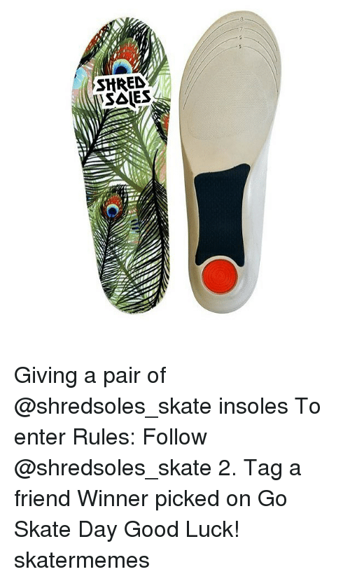 Shred: SHRED Giving a pair of @shredsoles_skate insoles To enter Rules: Follow @shredsoles_skate 2. Tag a friend Winner picked on Go Skate Day Good Luck! skatermemes