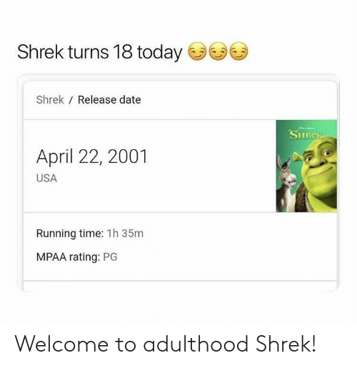 adulthood: Shrek turns 18 today  Shrek Release date  SHRER  April 22, 2001  USA  Running time: 1h 35m  MPAA rating: PG Welcome to adulthood Shrek!