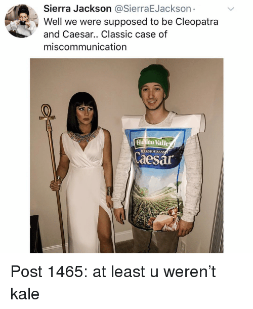 Memes, Kale, and 🤖: Sierra Jackson @SierraEJackson  Well we were supposed to be Cleopatra  and Caesar.. Classic case of  miscommunication  Hiden Valle  ROBUSTOCRFAM  aesa Post 1465: at least u weren't kale