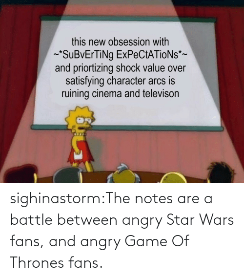 wars: sighinastorm:The notes are a battle between angry Star Wars fans, and angry Game Of Thrones fans.