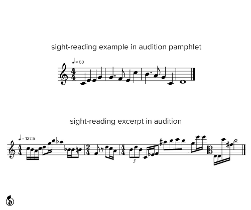 Audition, Reading, and Example: sight-reading example in audition pamphlet  J-60  %3!  sight-reading excerpt in audition  = 127.5  3
