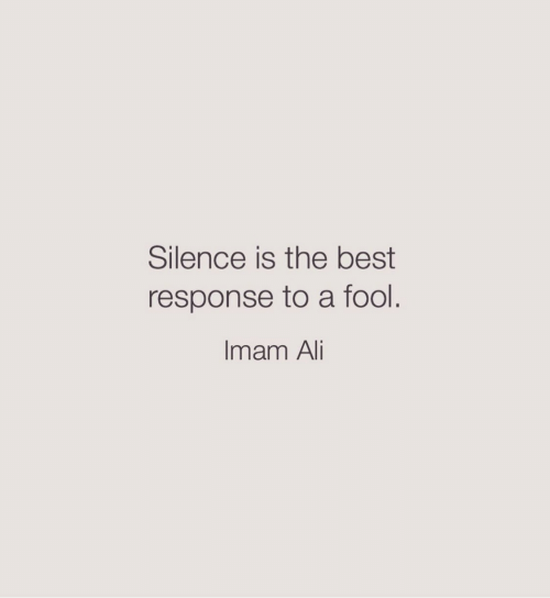 Ali, Best, and Silence: Silence is the best  response to a fool.  Imam Ali