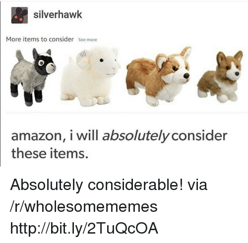 Amazon, Http, and Via: silverhawk  More items to consider See more  0  amazon, i will absolutely consider  these items. Absolutely considerable! via /r/wholesomememes http://bit.ly/2TuQcOA