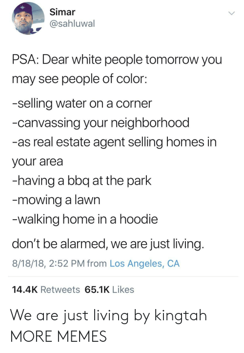 Mowing: Simar  @sahluwal  PSA: Dear white people tomorrow you  may see people of color:  -selling water on a corner  -canvassing your neighborhood  -as real estate agent selling homes in  your area  -having a bbq at the park  mowing a lawn  walking home in a hoodie  don't be alarmed, we are just living  8/18/18, 2:52 PM from Los Angeles, CA  14.4K Retweets 65.1K Likes We are just living by kingtah MORE MEMES