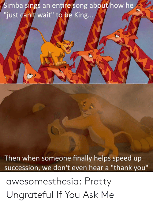 "Tumblr, Thank You, and Blog: Simba sings an entire song about how he  ""just can't wait"" to be King...  Then when someone finally helps speed up  succession, we don't even hear a ""thank you"" awesomesthesia:  Pretty Ungrateful If You Ask Me"