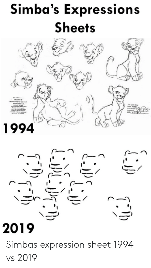 Mad, Simba, and Rod: Simba's Expressions  Sheets  ncrO  he n Kna  rod  Mad  tr  1994  2019 Simbas expression sheet 1994 vs 2019