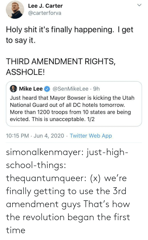 things: simonalkenmayer:  just-high-school-things:  thequantumqueer:   (x)    we're finally getting to use the 3rd amendment guys   That's how the revolution began the first time