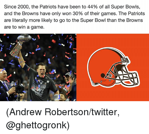 Nfl, Patriotic, and Super Bowl: Since 2000, the Patriots have been to 44% of all Super Bowls,  and the Browns have only won 30% of their games. The Patriots  are literally more likely to go to the Super Bowl than the Browns  are to win a game. (Andrew Robertson/twitter, @ghettogronk)