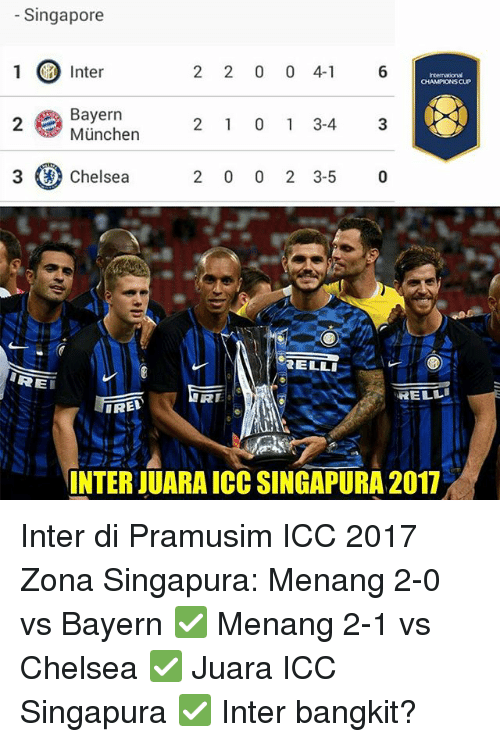 icc: Singapore  1 Inter  2 2 0 0 4- 6  CHAMPIONS CUP  Bayern  München  2  2 1 0 1 3-43  3 (a) Chelsea  2 0 0 2 3-5 0  ELLI  RE  RE  RELL  IRED  INTER JUARA ICC SINGAPURA 2017 Inter di Pramusim ICC 2017 Zona Singapura: Menang 2-0 vs Bayern ✅ Menang 2-1 vs Chelsea ✅ Juara ICC Singapura ✅ Inter bangkit?