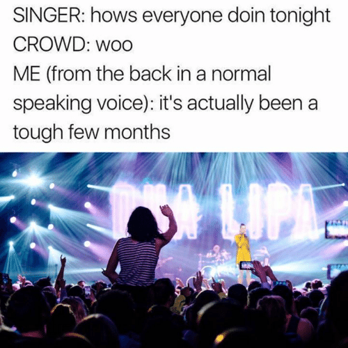 Dank, Voice, and Tough: SINGER: hows everyone doin tonight  CROWD: woo  ME (from the back in a normal  speaking voice): it's actually been a  tough few months