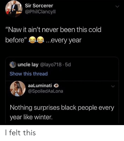 "Black People: Sir Sorcerer  @PhilClancyll  ""Naw it ain't never been this cold  ...every year  before""  uncle lay @layo718 5d  Show this thread  aaLuminati  @SpoiledAaLona  Nothing surprises black people every  year like winter I felt this"