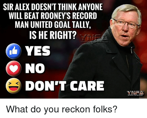 Reckonize: SIRALEX DOESN'T THINK ANYONE  WILL BEAT ROONEY'S RECORD  MAN UNITED GOAL TALLY,  IS HE RIGHT?  YES  No  E DON'T CARE What do you reckon folks?