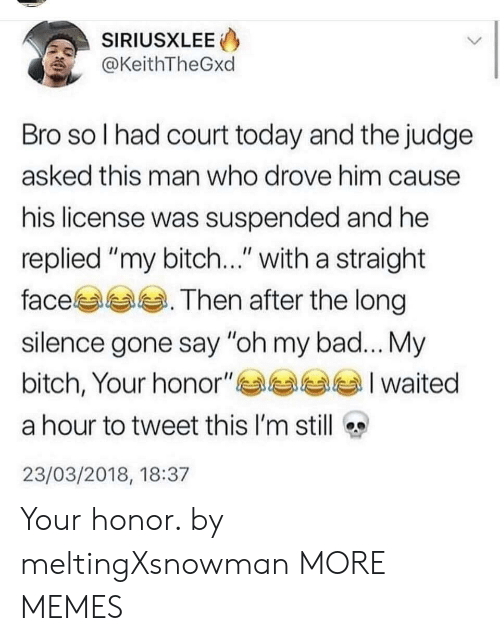 """Bad, Bitch, and Dank: SIRIUSXLEE  @KeithTheGxd  Bro so l had court today and the judge  asked this man who drove him cause  his license was suspended and he  replied """"my bitch..."""" with a straight  face. Then after the long  silence gone say """"oh my bad... My  bitch, Your honor""""부부부부 I waited  a hour to tweet this I'm still  23/03/2018, 18:37 Your honor. by meltingXsnowman MORE MEMES"""