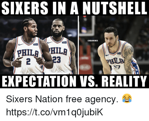 Memes, Free, and Sixers: SIXERS IN A NUTSHELL  @NBAMEMES  Stuthub  Stubhub  Shahi  2  EXPECTATION VS. REALITY Sixers Nation free agency. 😂 https://t.co/vm1q0jubiK